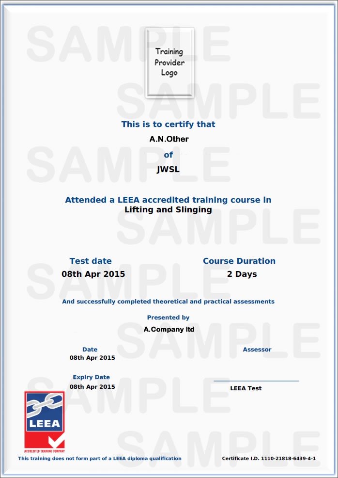 Leea accredited user training sample certificate yelopaper Choice Image